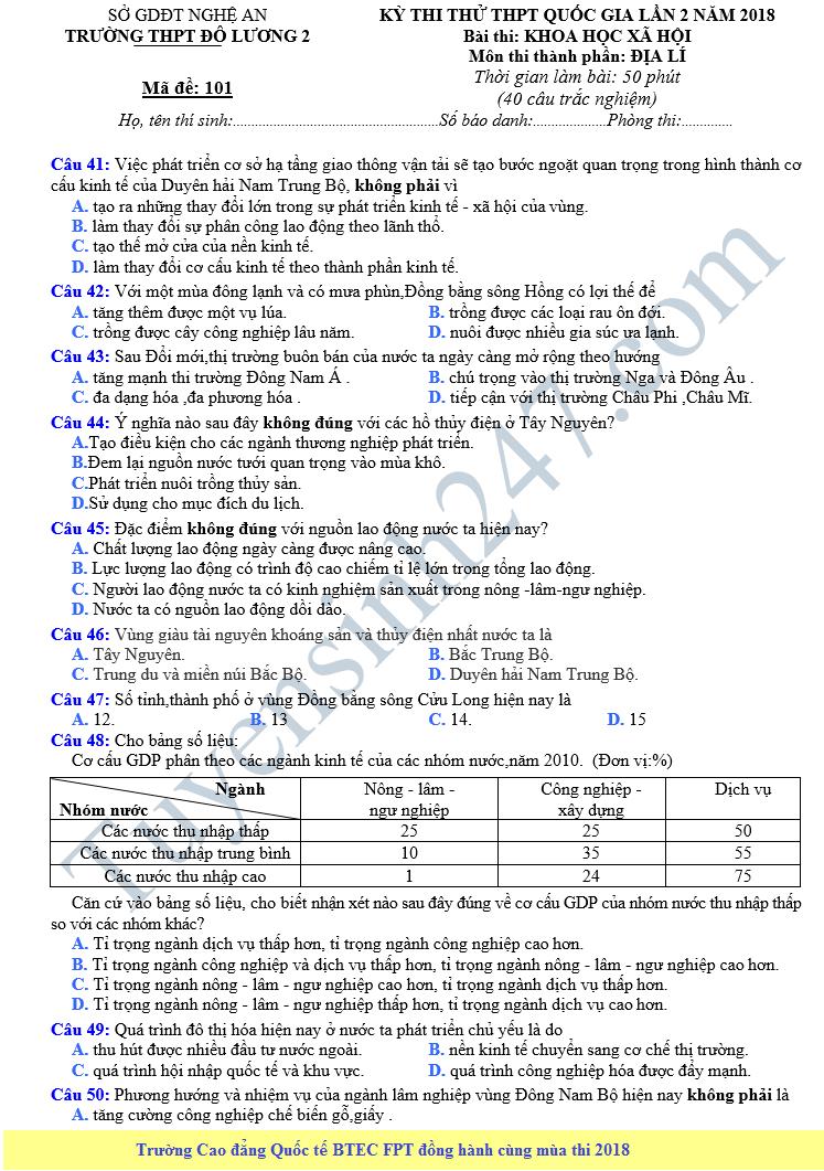 Đề thi thử THPT QG môn Địa năm 2018 - THPT Đô Lương 2