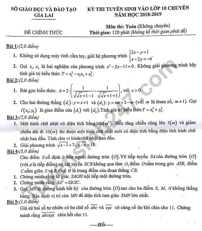 Đề thi tuyển sinh vào lớp 10 môn Toán - THPT chuyên tỉnh Gia Lai 2018
