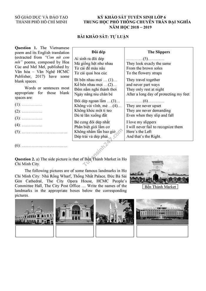 Đáp án đề thi vào lớp 6 môn Anh phần tự luận trường THPT chuyên Trần Đại Nghĩa 2018