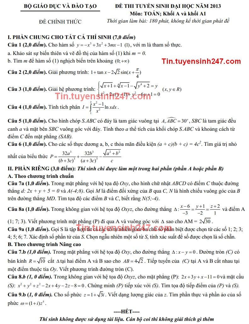 De thi dai hoc mon toan khoi A, A1 nam 2013