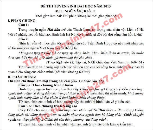 Dap an de thi dai hoc mon van khoi C nam 2013