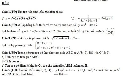 De thi hoc ki 1 mon Toan lop 10 nam 2013 (phan 1)