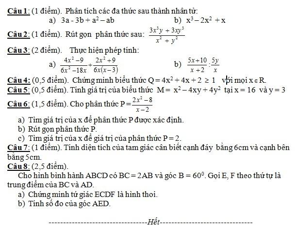 De thi hoc ki 1 lop 8 mon Toan nam 2013 (P1)