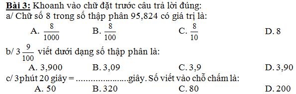De thi giua ki 1 lop 5 mon Toan nam 2015 - Tieu hoc Tu Yen