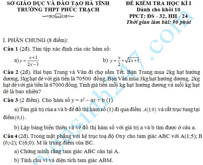 De thi hoc ki 1 lop 10 mon Toan THPT Phuc Trach 2015