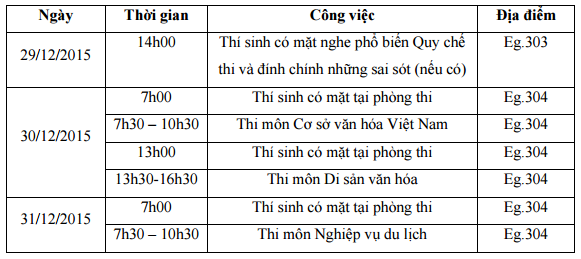 Lich thi lien thong Dai hoc Van hoa Ha Noi nam 2015