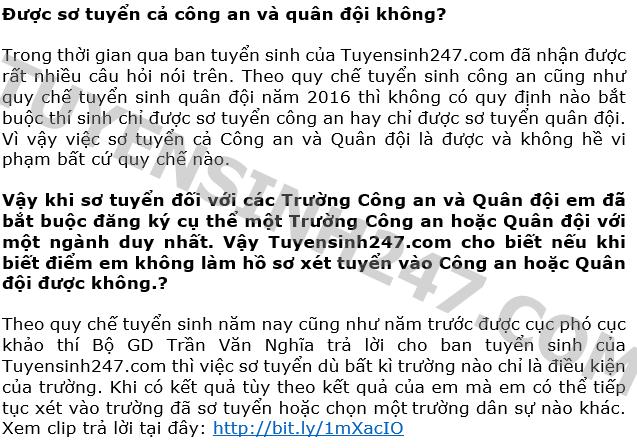 Nam 2016 co duoc so tuyen ca Cong an va Quan doi?