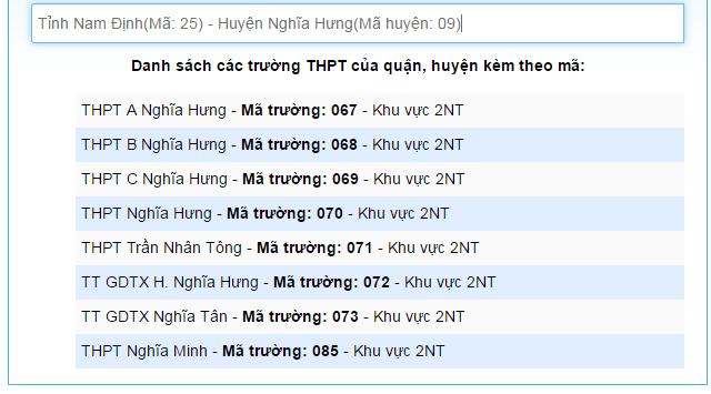 Danh sach ma truong THPT nam 2018