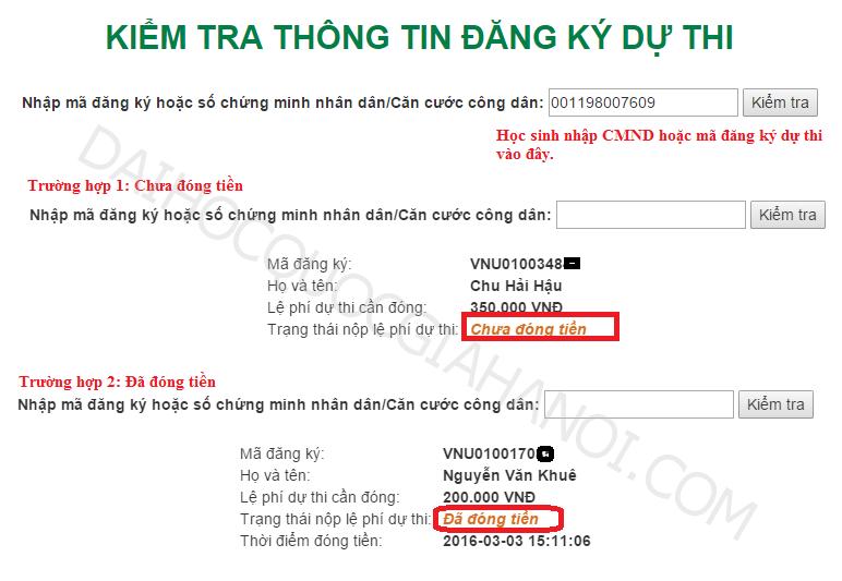 Kiem tra dang ky va nop le phi thi vao DH QGHN co thanh cong khong?