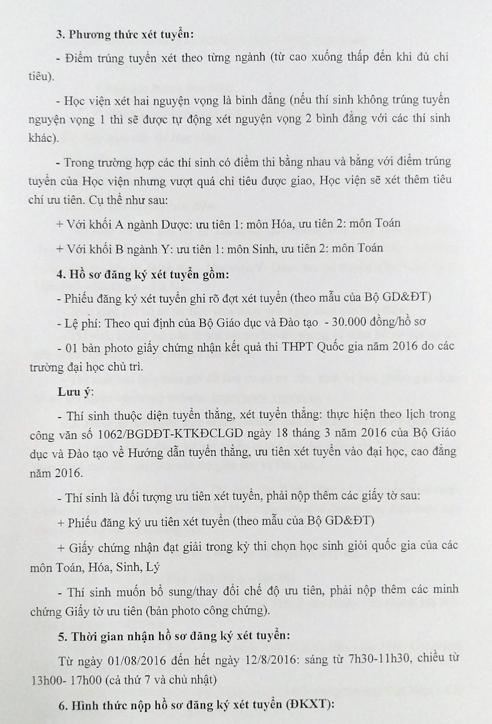 Diem xet tuyen hoc vien Y duoc hoc co truyen Viet Nam 2016