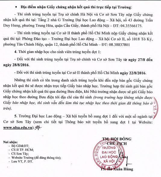 Diem trung tuyen vao Dai hoc Lao dong xa hoi 2016