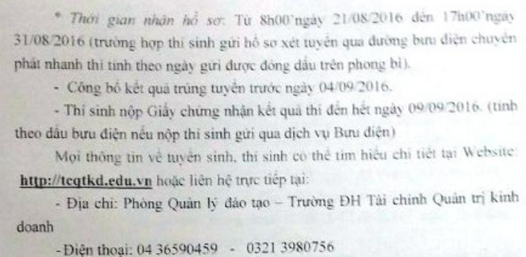 Xét tuyẻn NVBS dọt 1 Dại học Tài Chinh  - Quản trị kinh doanh 2016