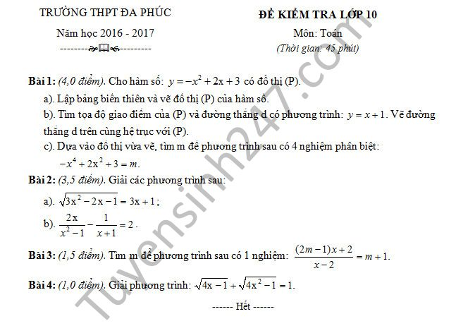 De thi hoc ki 1 mon Toan 10 - THPT Da Phuc nam 2016-2017 co dap an