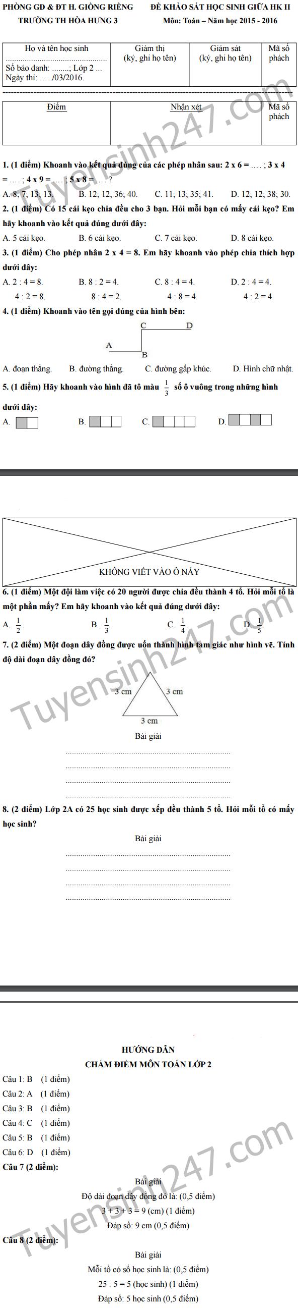 De thi giua hoc ki 2 lop 2 mon Toan - Tieu hoc Hoa Hung 3 nam 2016