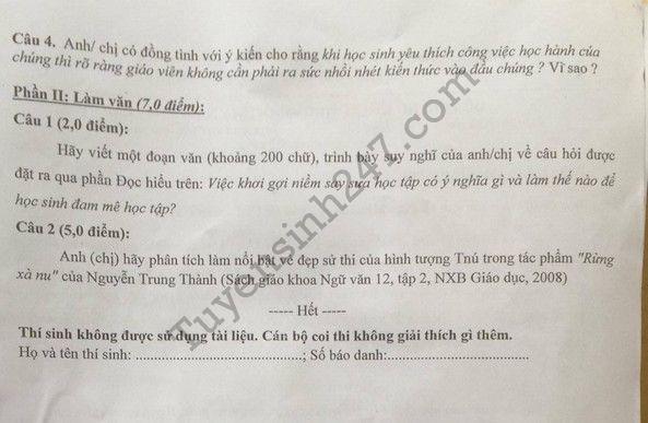 De thi thu THPT Quoc gia mon Van 2017 THPT Chuyen Khoa hoc tu nhien lan 4