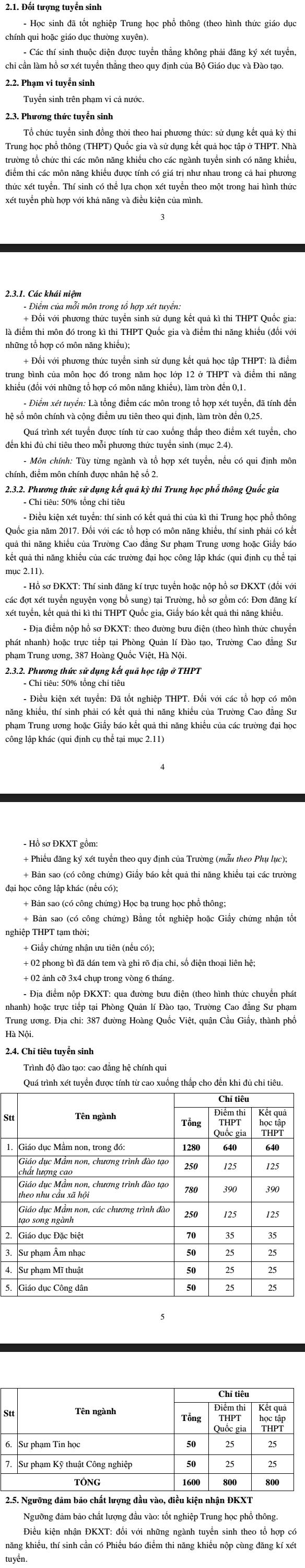 Cao dang su pham trung uong tuyen sinh nam 2017