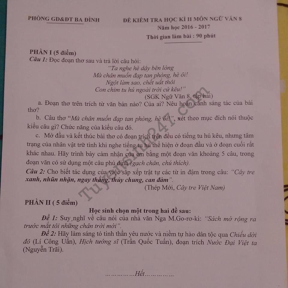 De thi hoc ki 2 lop 8 mon Van 2017 – Quan Ba Dinh