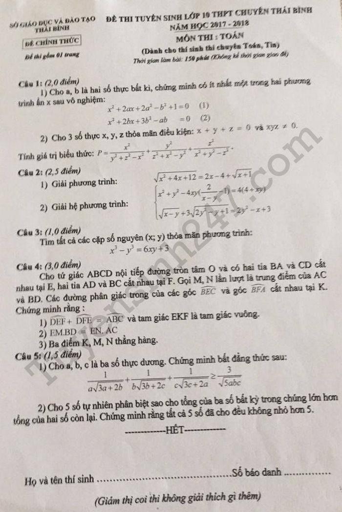 De thi vao lop 10 mon Toan THPT chuyen tinh Thai Binh nam 2017