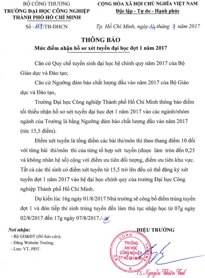 Diem xet tuyen vao truong DH Cong nghiep TPHCM