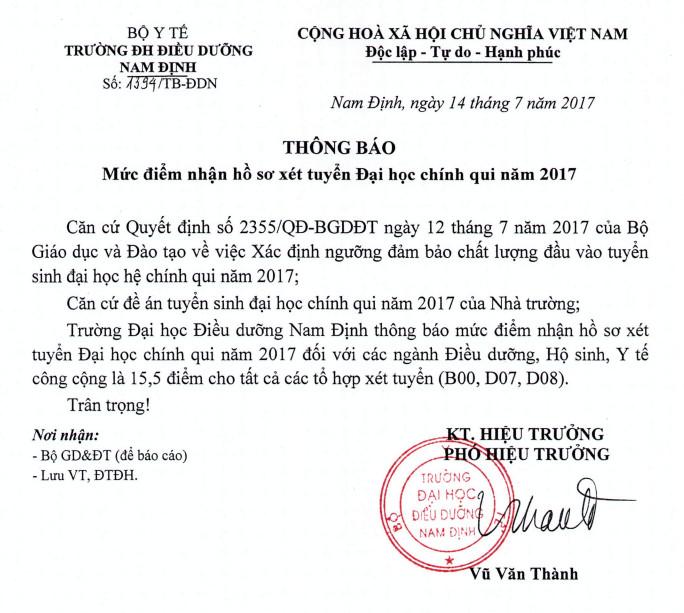 Diem xet tuyen DH Dieu duong Nam Dinh nam 2017