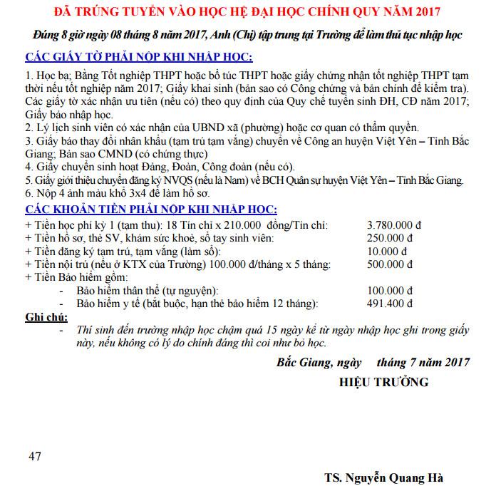 Ho so nhap hoc truong Dai hoc Nong - Lam Bac Giang 2017