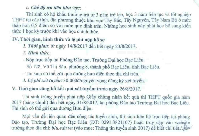 Xet tuyen NV bo sung cua truong DH Bac Lieu nam 2017