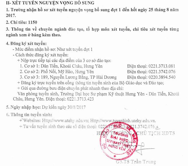 Thong bao xet NVBS dot 1 cua DH Su Pham Ky Thuat Hung Yen 2017