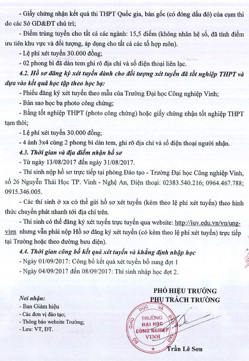 Dai hoc Cong nghiep Vinh xet tuyen nguyen vong bo sung dot 1