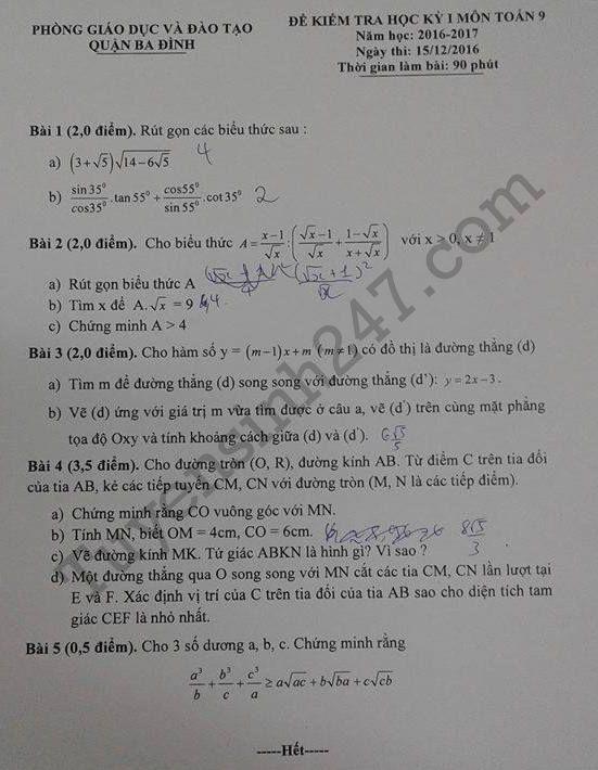 De thi hoc ki 1 lop 9 mon Toan 2017 - Quan Ba Dinh