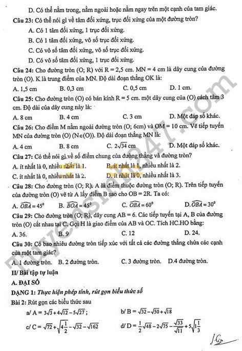 De cuong on tap hoc ki 1 lop 9 mon Toan - THCS Doan Thi Diem 2017