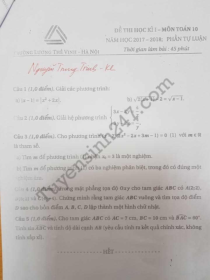 De thi hoc ki 1 lop 10 mon Toan THPT Luong The Vinh nam 2017 - 2018
