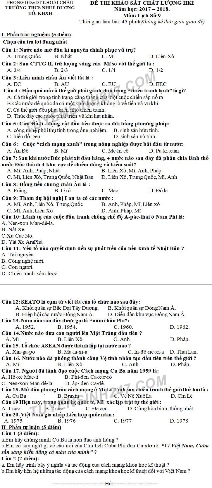 De kiem tra ki 1 mon Su lop 9 nam 2017 - 2018 THCS Nhue Duong