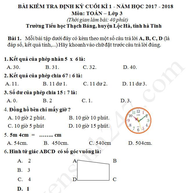 De thi hoc ki 1 mon Toan lop 3 TH Thach Bang 2017 - 2018