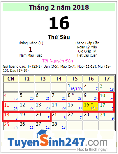 Lich nghi tet Nguyen Dan 2018 hoc sinh Dong Thap