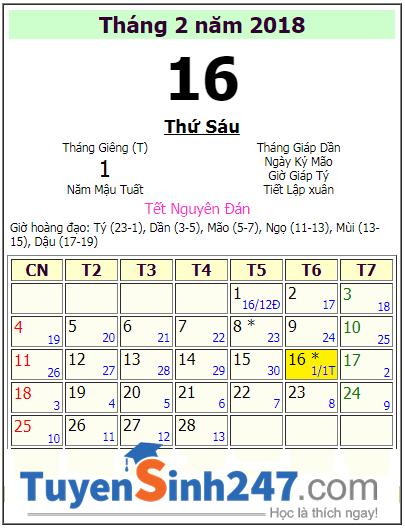 Lich nghi tet Nguyen Dan 2018 cua hoc sinh Can Tho keo dai 16 ngay