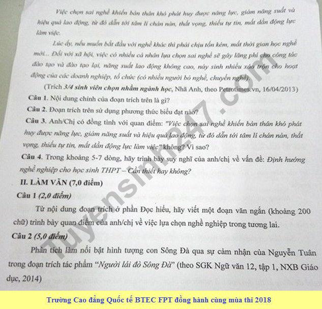 De thi thu THPTQG mon Van - Chuyen KHTN lan 1 nam 2018