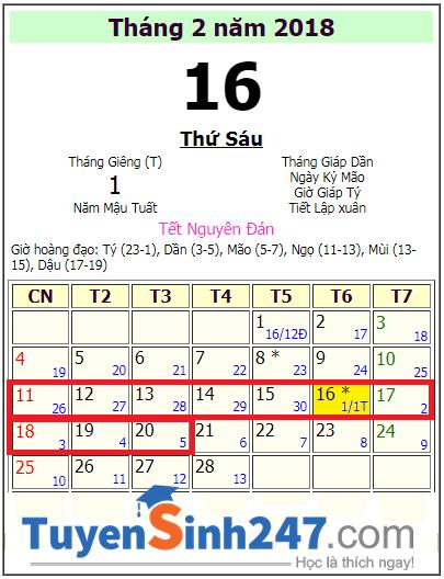 Lich nghi tet 2018 cua hoc sinh Hai Phong