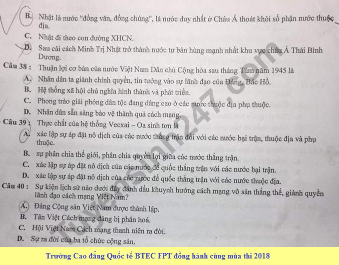 De thi thu THPTQG mon Su THPT Chuyen Thai Nguyen 2018 lan 1