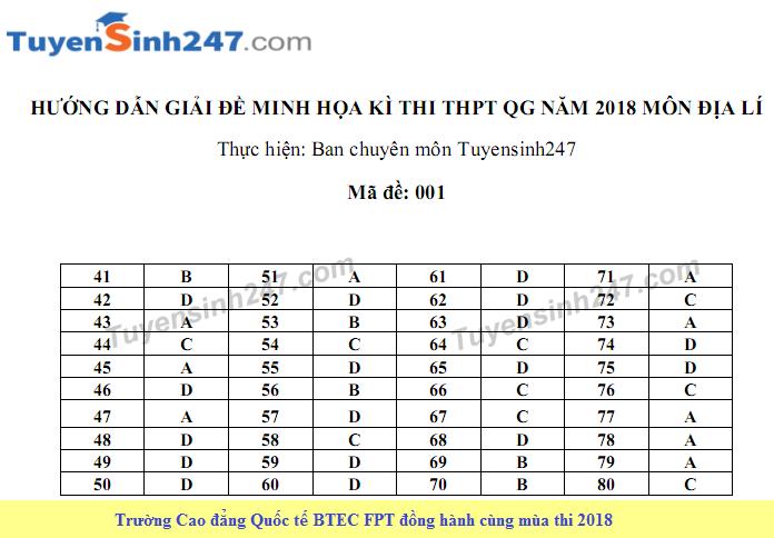Huong dan giai de thi minh hoa mon Dia THPT Quoc gia nam 2018