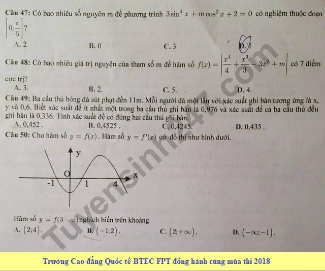De thi thu THPT Quoc gia mon Toan 2018 Chuyen Le Quy Don lan 2