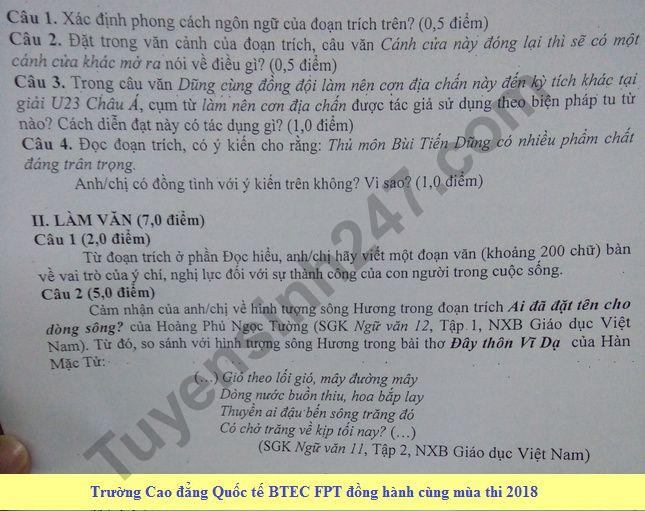 De thi thu THPTQG mon Van chuyen Hung Yen 2018