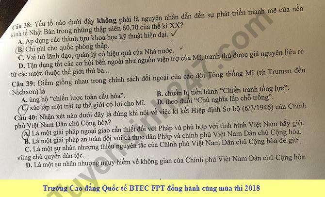 De thi thu THPTQG mon Su Chuyen Bac Giang 2018