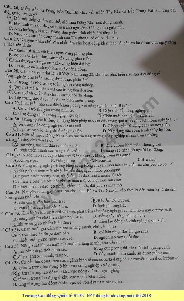 De thi thu THPT Quoc gia mon Dia Chuyen Le Quy Don lan 2 2018
