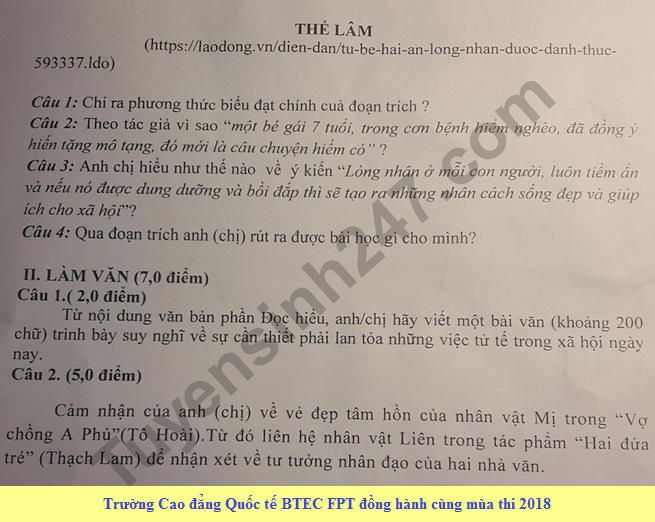 De thi thu THPTQG mon Van Chuyen Hoang Van Thu 2018 - Lan 2