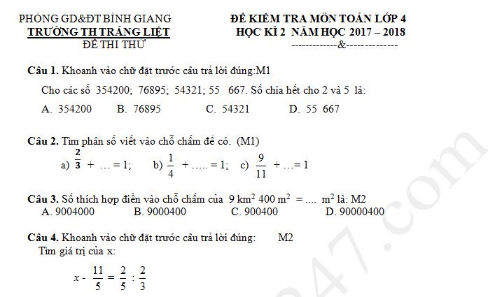 De thi ki 2 lop 4 mon Toan nam 2018 - TH Trang Liet