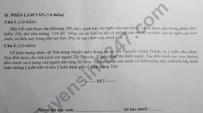 De thi ki 2 lop 12 mon Van - THPT Duong Van Duong 2018