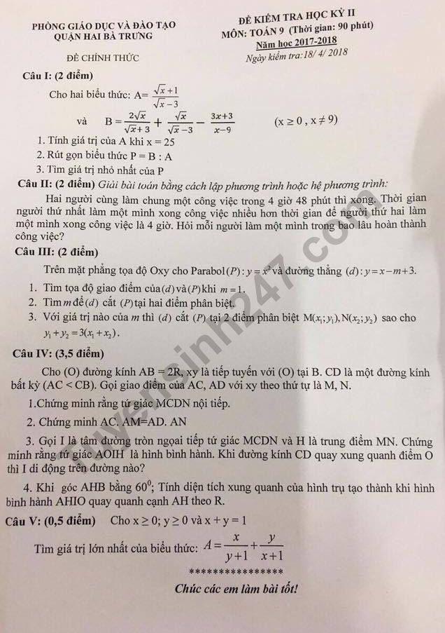De thi ki 2 lop 9 mon Toan - Quan Hai Ba Trung 2018