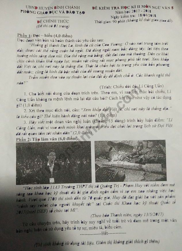De thi ki 2 lop 8 mon Van 2018 - huyen Binh Chanh