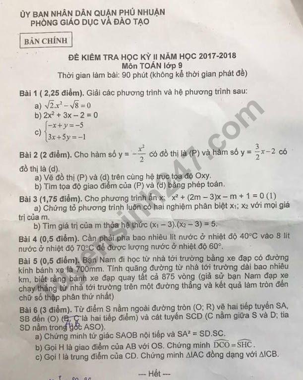 De thi ki 2 mon Toan lop 9 - Quan Phu Nhuan 2018