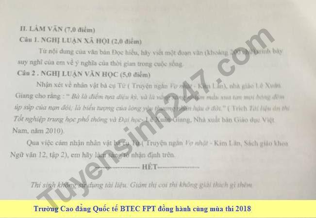 De thi hoc ki 2 lop 12 mon Van  - THPT Bui Thi Xuan 2018